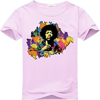 Jimi Hendrix Watercolor Logo For Women's Printed Short Sleeve Tee Tshirt X-Large PINK