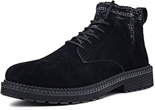 2019 Mens New Lace-up Flats Mens Ankle Boots for Men High Top Shoes Round Toe Lace Up Suede Breathable Sewing Short Tube Side Cut Comfortable Anti-Slip Warm Lining Socks Collar Black