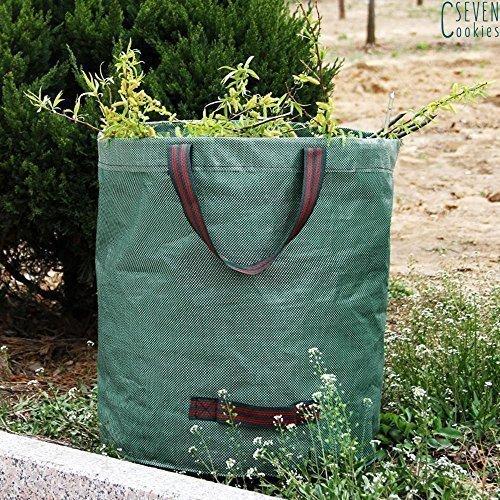 garden mile 272L Grand réutilisable Vert Jardin déchet pour Poubelle Sac Sacs avec poignées Douche Anti Rouille tiroir résistant Herbe Sac Composte Automne Feuilles collecteur Maison Recyclage Sac
