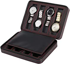 Black Zippered Watches Box Travel Case - Watch Storage Organizer Collection - Top Grade Carbon Fibre PU Leather (8-Slot)
