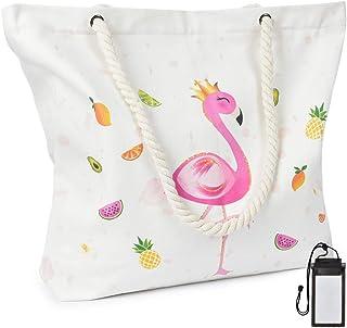 WERNNSAI WERNNSAI Flamingo Strandtasche - Extra Groß Segeltuch Handtasche mit Taschen Reißverschluss Seil Griffe für Frauen Mädchen Sommer Strand Schwimmbad Fitnessstudio