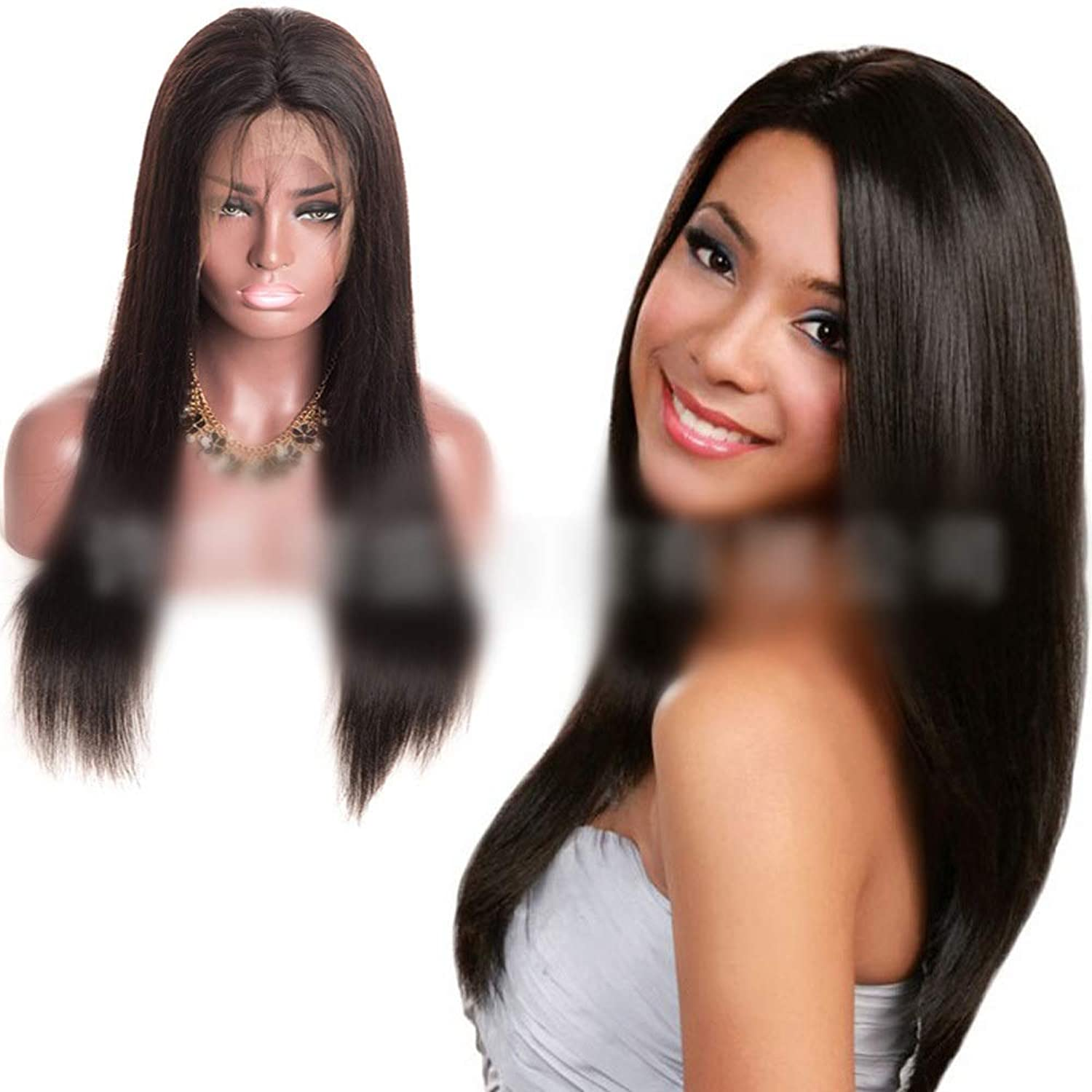 8  22 , Natural color HandWoven Long Straight Hair Full Lace Front Human Hair Wig for Women DIY Fun (color   Black, Size   8 inch)