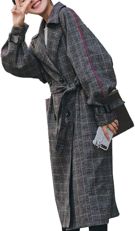 DFUCF Women's Woolen Coat Plaid Fashion Thicken Loose Long Pea Coat Winter with Belt