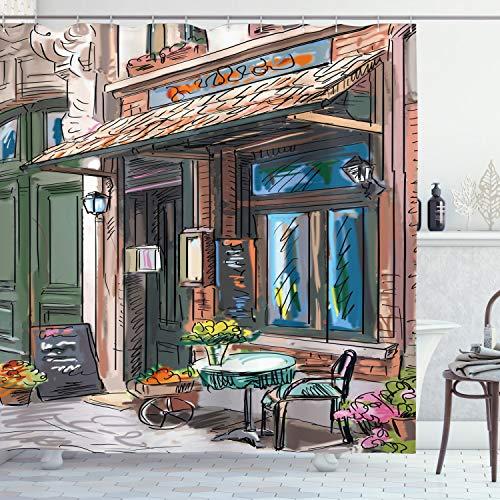 ABAKUHAUS Stadt Duschvorhang, Strasse Paris Cafe Essen, Wasser Blickdicht inkl.12 Ringe Langhaltig Bakterie & Schimmel Resistent, 175 x 200 cm, Braun Blau
