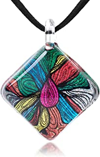 Hand Blown Glass Multi-Colored Abstract Flower Art Pendant Necklace 17-19 inches Leather Cord