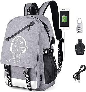 Anime Luminous Backpack Anime Bag, Oxford Backpack Fashion Bookbags Shoulder Travel Daypack Laptop Backpack (Grey)