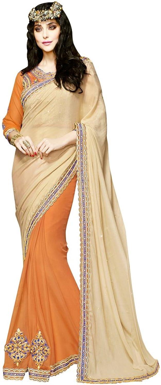 INMONARCH Womens Marvelous Beige and orange Designer saree SSA3616