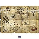 Mappa del tesoro Pirata Rosso - 4 pezzi