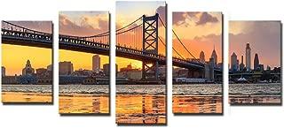 Noah Art-Contemporary Bridge Art Print, Philadelphia Ben Franklin Bridge Architecture Artwork Landscapes Pictures on Canvas Prints, 5 Piece Gallery Wrapped Canvas Bridge Wall Art for Living Room