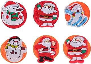 Amosfun 6pcs Christmas Brooches LED Light Up Brooch Pins Santa Claus Snowman Reindeer Badges Christmas Party Favor Gift Toys (Random Style)
