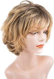 Lurrose Peruca feminina natural curta encaracolada capa de peruca de fibra realista moda ferramentas de cabeleireiro (amar...