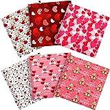 6 Telas de San Valentín Tela de Algodón Estampada de Corazón Cuadrados de Coser de Flecha de Cupido Tela Acolchada Grande de Oso Lindo Paquetes de Patchwork con Patrón de Corazón para DIY
