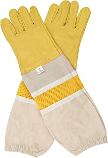 DZXZY Professional Beekeeping Gloves Hornets Glove Premium Goatskin Leather Beekeeing Supplies with Long Canvas Protective Vented Sleeves & Elastic Cuffs for Beekeeper-XL