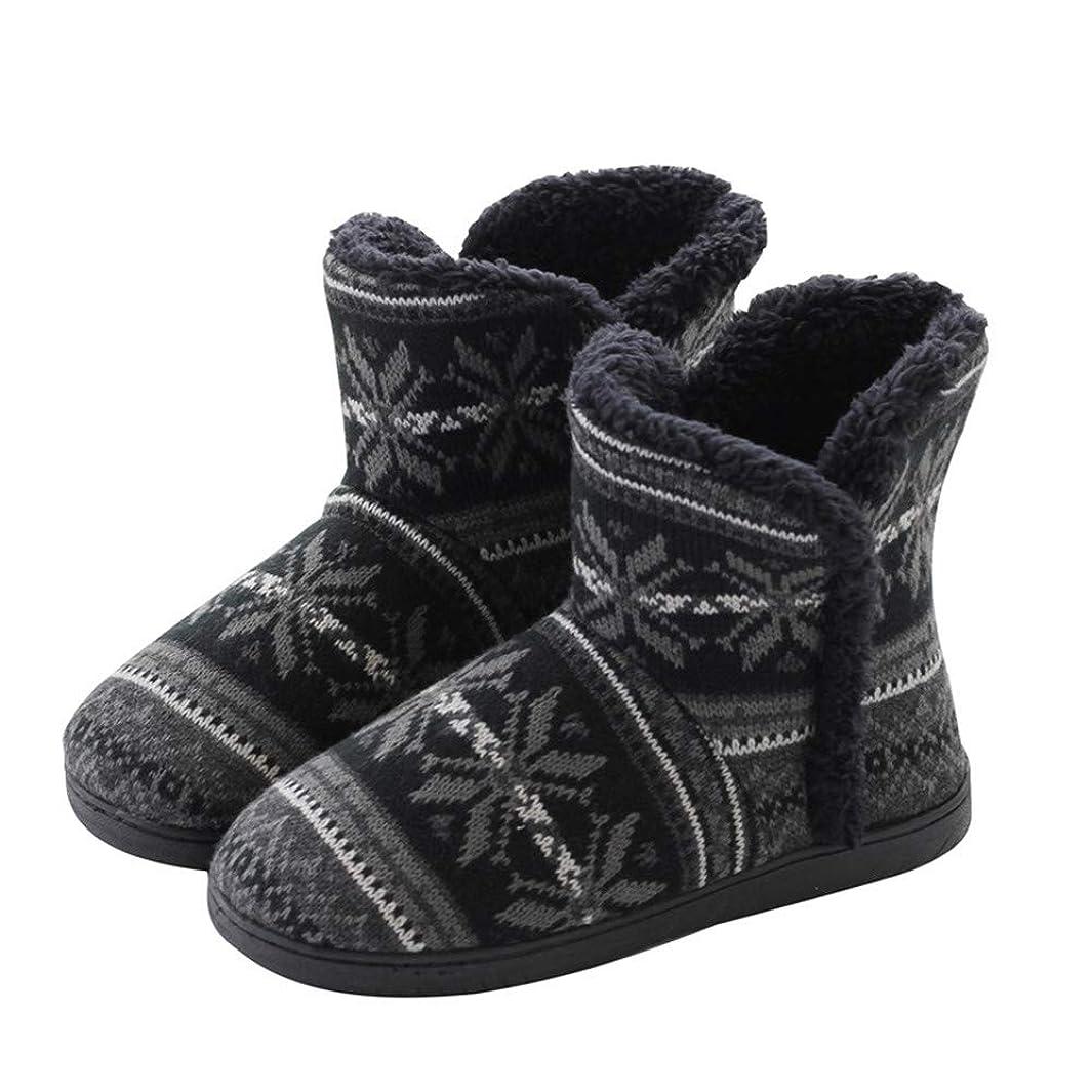 テープインクハンドブックAnnasky シューズ スリッパ?ルームシューズ レディースアダルトミッドカーフスノースリッパハウスブーティクロッグソフト屋内屋外冬暖かいプルのブーツの靴 (色 : ブラック, サイズ : 39-40)