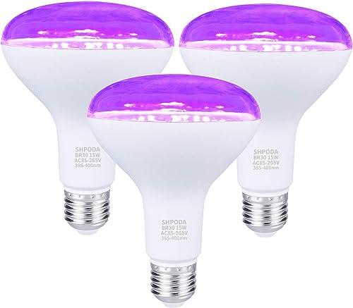SHPODA 3 Pack 15W LED Black Light Bulbs,BR30 E26 Blacklight Bulb 385-400nm,Glow in The Dark for Blacklight Party,Body...