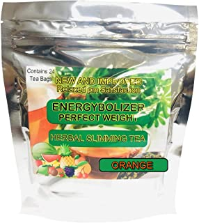 Energybolizer Perfect Weight Herbal Slimming Tea ORANGE FLAVOR. All Natural colon cleanse and complete digestive support.