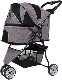 Pet stroller Small Pet Stroller,Pet Stroller,Three-Wheeled Pet Stroller,Lightweight and Portable Pet Stroller,Outdoor Travel Pet Stroller (Color : Grey)