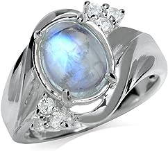 Silvershake Natural Moonstone and White Topaz 925 Sterling Silver Glamorous Ring
