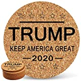 Trump 2020 Keep America Great Coaster Set With Cork Back 6 Pack for Drinks in Office, Home, or Cottage