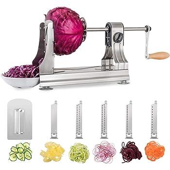 WellToBe 6-Blade Vegetable Spiralizer Spiral Slicer Veggie Pasta Spaghetti Maker for Healthy Low Carb/Paleo/Gluten - 304 Food Stainless Steel Body