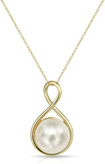 Infinity Design Chain Pendant Necklace with 9-9.5mm Freshwater Cultured Pearl 18inches