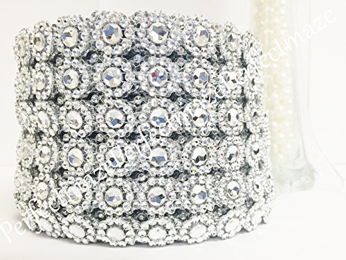 "Perfectmaze 4"" X 10 Yards (30 Feet) Flower Mesh Rhinestone Ribbon Wrap for Wedding, Party, and Events Decoration (Flower Diamond, Silver)"