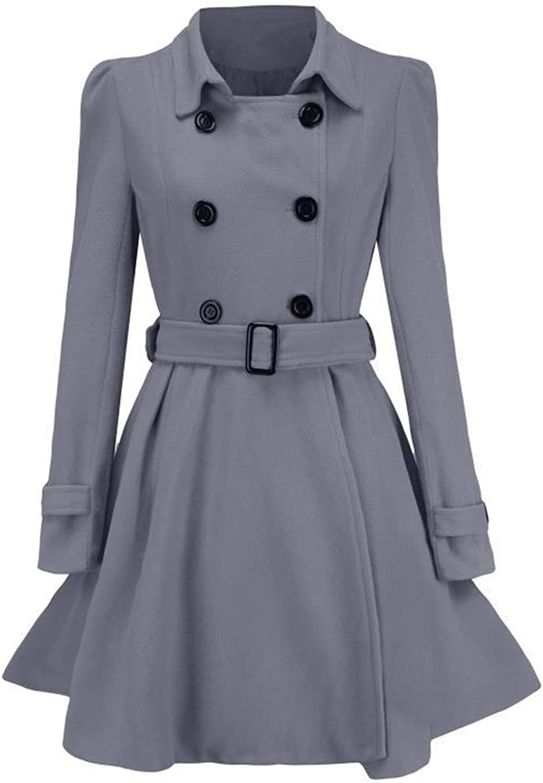 Hengshikeji Women Double Breasted Wool Pea Coat with Belt Buckle Winter Fall Mid-Long Long Sleeve Lapel Dresses Outwear