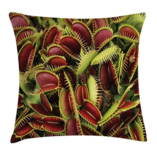 """Ambesonne Horror House Throw Pillow Cushion Cover, Carnivorous Plant Frightening Botanic Foliage Danger Killer Nature Artwork, Decorative Square Accent Pillow Case, 16"""" X 16"""", Green Maroon"""