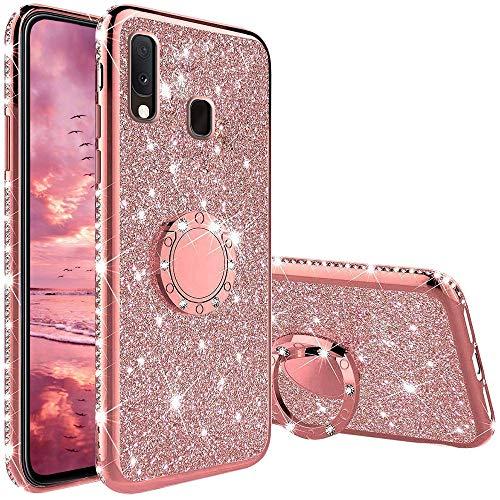 Funda para Samsung Galaxy A20E, Glitter Brillante Diamante Carcasa Soporte Magnético de 360 Grados Anillo Giratorio Suave Silicona Gel TPU Anti-Choques y Anti- Arañazos Protectora Carcasa - Oro Rosa