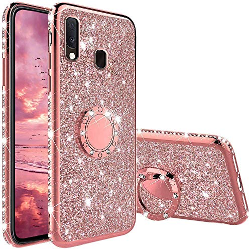 XTCASE Hülle für Samsung Galaxy A20e, Glitzer Bling Glänzend Strass Diamant Handyhülle mit 360 Grad Ring Ständer Ultradünn Stoßfest TPU Silikon Tasche Schutzhülle - Rosé Gold