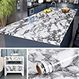 Livelynine 197x24 Inch Marble Contact Paper Peel and Stick Countertops for Kitchen Waterproof Granite Countertop Paper Marble Wallpaper Granite Paper for Furniture Desk Cover Bathroom Vanity Wide