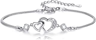 "Sterling Silver Heart ""Forever Love"" Adjustable Bracelets Jewelry Gifts for Girlfriend,Mother Daughter,BestFriend"