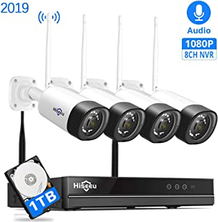 Hiseeu [Encryptible,Audio] Wireless Security Camera System,8Channel NVR 4Pcs 1080P Cameras,Mobile&PC Remote,Outdoor IP66 Waterproof,Night Vision,Motion Alram,Plug&Play,24/7 Recording,1TB HDD