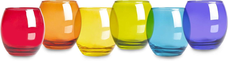 Excelsa San Josè - Juego de 6 vasos de agua, cristal, multicolor