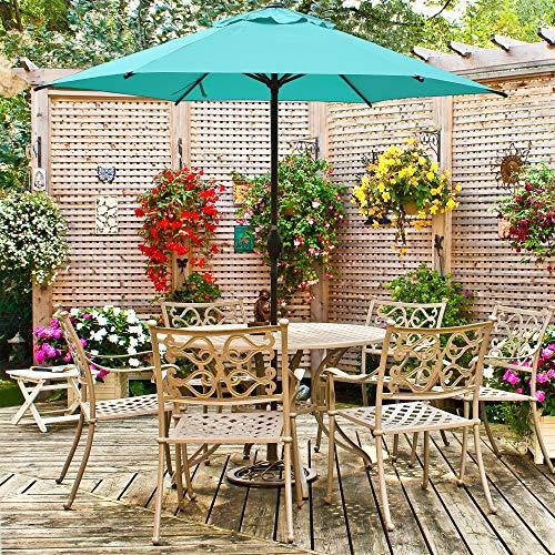 PRLADON 9ft Patio Umbrella Outdoor Umbrella Patio Market Table Umbrella with Push Button Tilt and Crank for Garden, Lawn, Deck, Backyard & Pool, Turquoise