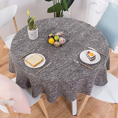 DAKEUR Tovaglia in Lino di Cotone Tondo copriletto da Festa di Nozze tovaglia da tè Nordico Decorazione della Cucina di casa Marrone Rotonda 180 cm