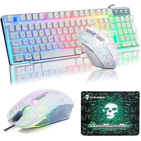 UrChoiceLtd Teclado Ratón Teclado Arcoiris Arcoiris Backlit Teclado USB + 2400DPI Ratón 6 Botones Optical LED Gaming Ratón Para Ordenador + Juego ...