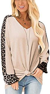 Zantt Womens Stitching Round Neck Long Sleeve Casual Leopard Print T-Shirts Blouse Tops
