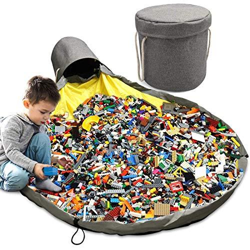 Cesta de almacenamiento de juguetes para niños con tapa, bolsa de almacenamiento, bolsa organizadora de Lego, tapete de juego portátil, bolsa de juguete grande de 150 cm, limpieza más rápida