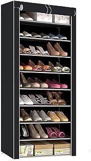 10 Tiers Wardrobe Shoe Rack 30 paires de chaussures avec fermeture éclair, armoire à chaussures robuste avec housse en tis...
