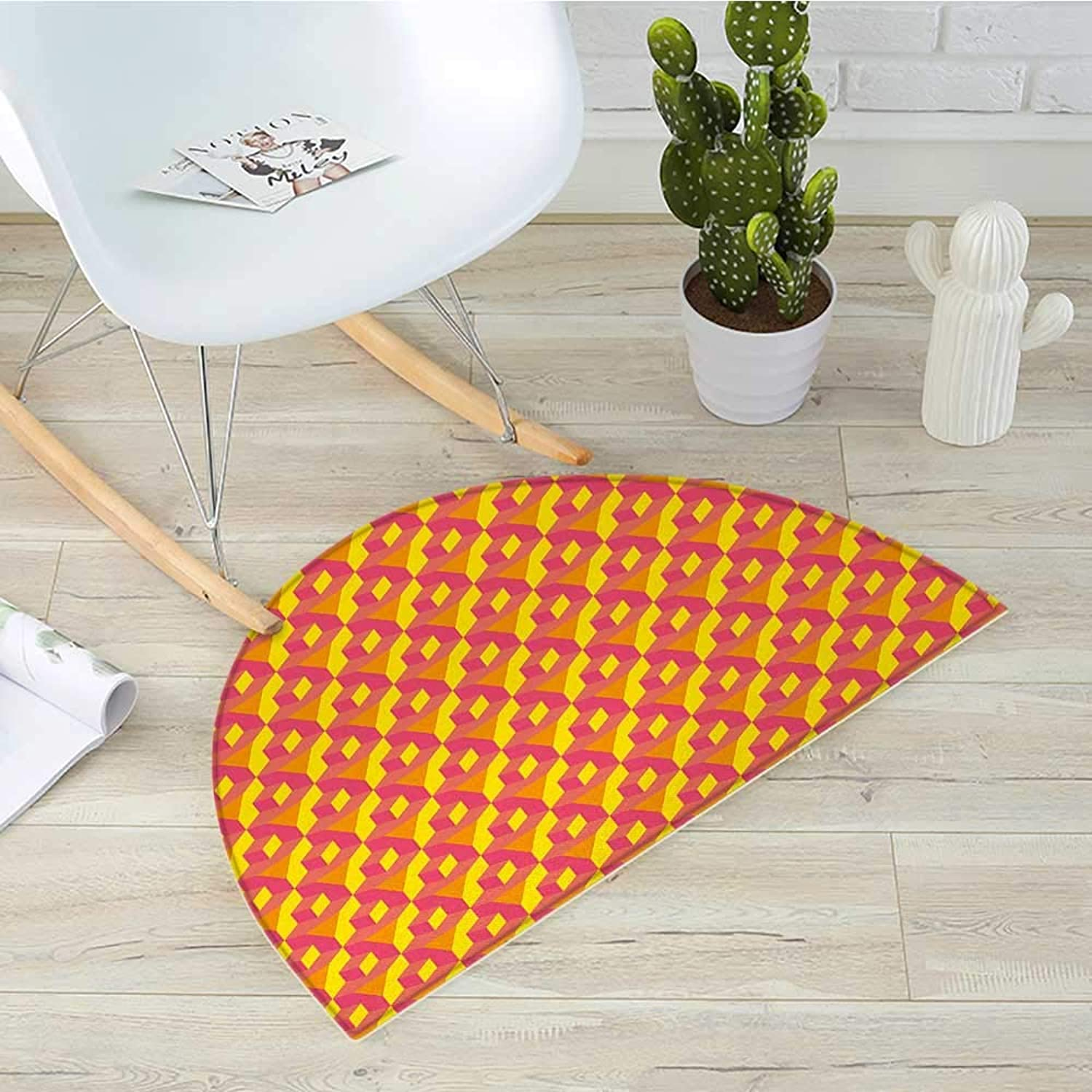 Abstract Half Round Door mats Geometric Dimension Pattern with Cube Prisms Hipster Fashion Graphic Bathroom Mat H 31.5  xD 47.2  Earth Yellow Hot Pink