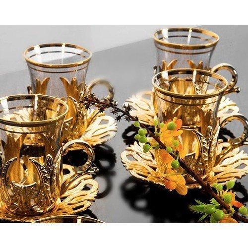 Türkische Teegläser-Set, 6 Stück, Gold