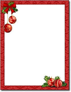 Red Christmas Bulbs Stationery Paper - 80 Sheets