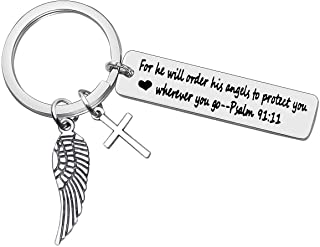 Bible Verse Keychain Religious Jewelry for He Will Order His Angels to Protect You Wherever You Go Faith Key Chain Christi...