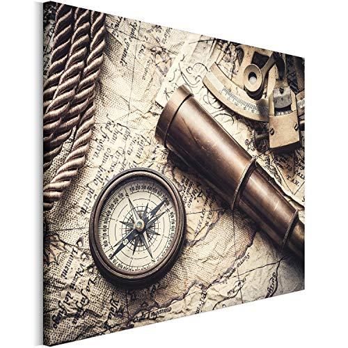 Revolio 70x50 cm Leinwandbild Wandbilder Wohnzimmer Modern Kunstdruck Design Wanddekoration Deko Bild auf Leinwand Bilder 1 Teilig - Alte Karte Fernrohr Kompass Retro braun