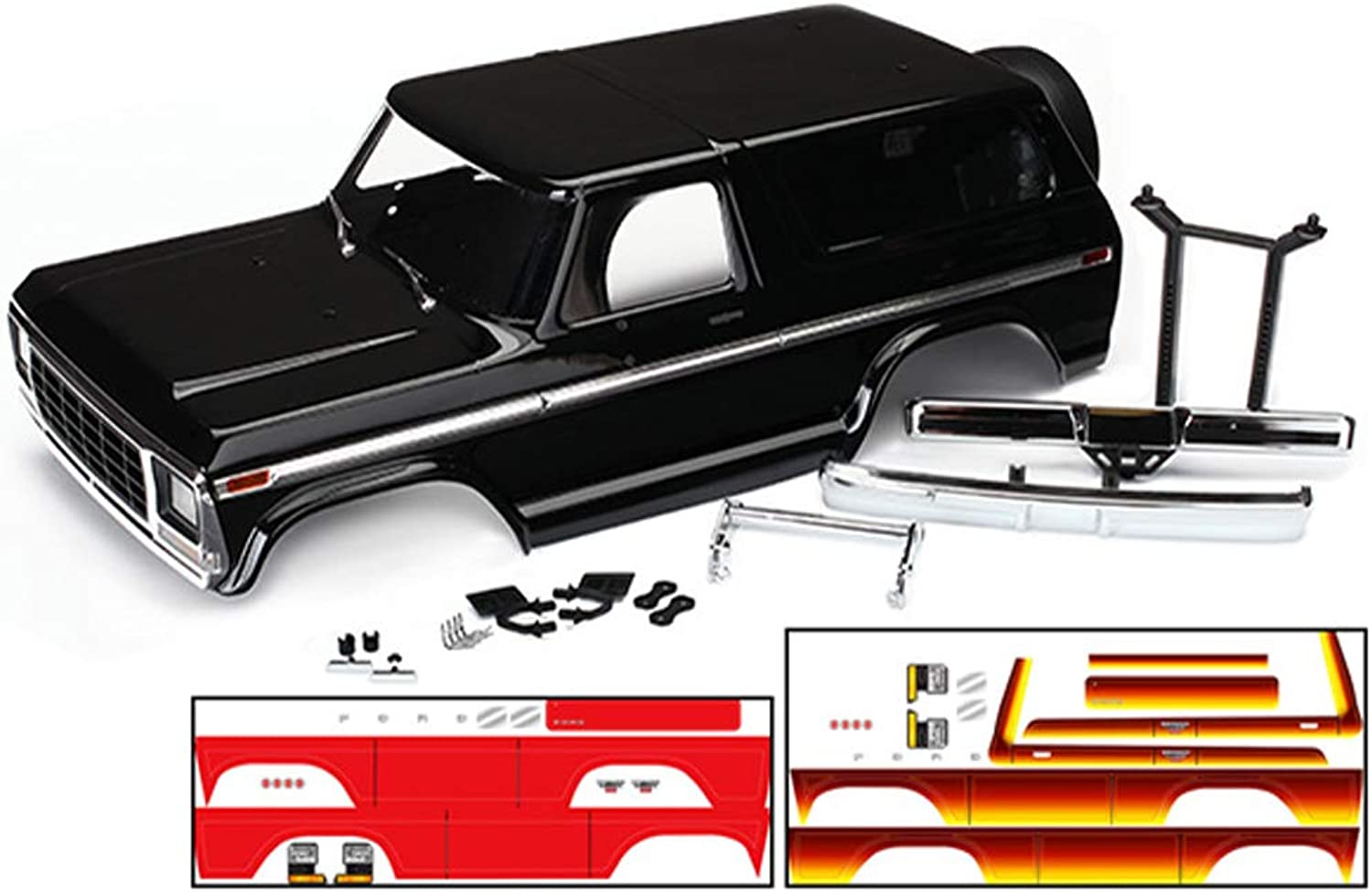 TRAXXAS Body, Ford Bronco, complete (Black) (incl. accessories, Red (TRX8010X)