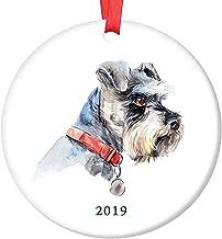 "3"" Christmas Ornament, Cute Schnauzer Christmas Ornament Dog Lover Ceramic Keepsake Present Whiskered Miniature Schnauzer Shelter Rescue Family Adopted Pooch Porcelain Xmas Ornament"