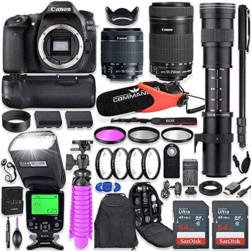Canon EOS 80D DSLR Camera Kit with Canon 18 55mm 55 250 STM Lenses 420 800mm Telephoto Zoom product image