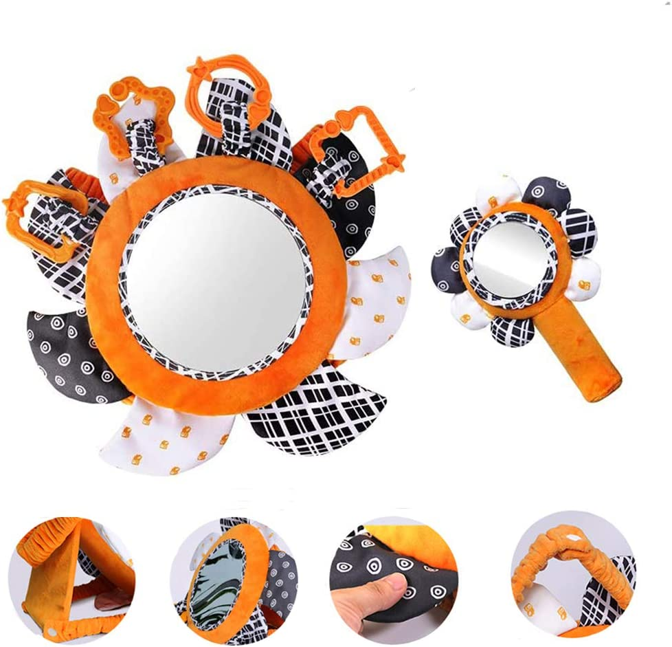 2 Black and White Toys for Newborn 0-12 Months (Tummy Time Mirror and Baby Soft Plush Hand Rattle) High Contrast Visual Stimulation Sensory Toy, Baby & Infant Stroller Hanging Toys Crinkle and Squeak
