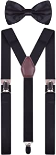 Black Suspenders and Bow Tie for Kids Boys Girls Elastic Shoulder Strap Braces